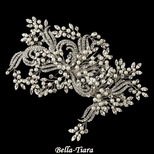 NEW! Royal Collection - Gorgeous Ivory Pearl & Clear Rhinestone Couture Vine Hair Comb