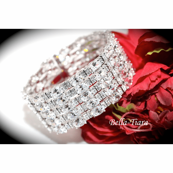 NEW!! SPECTACULAR CZ wide cuff wedding bracelet - SPECIAL one left