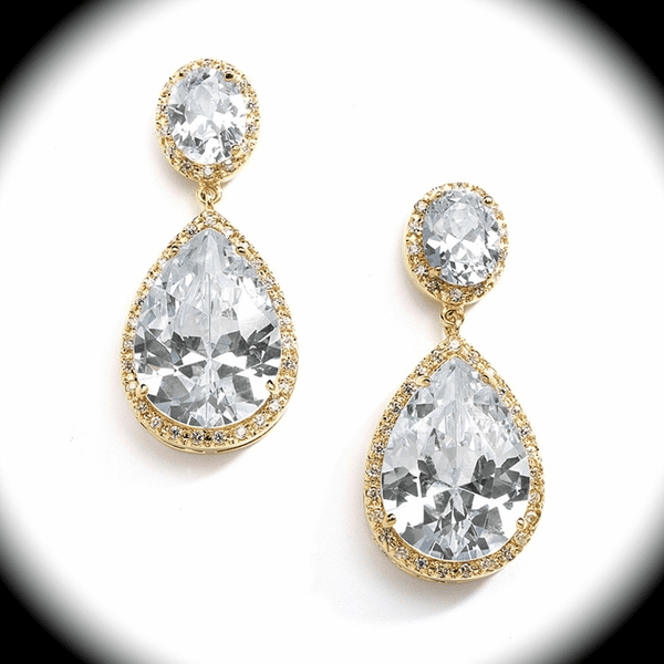 NEW! Stunning Gold CZ Pear-Shaped Drop Earrings -15% off use code (jewel15)