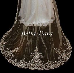 Emiliana - CUSTOM ORDER -- Royal beaded cathedral wedding veil -