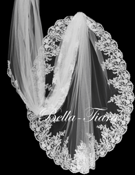 Royal Cathedral wedding veil lace with blusher