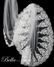 Royal Lace cathedral wedding veil with free blusher