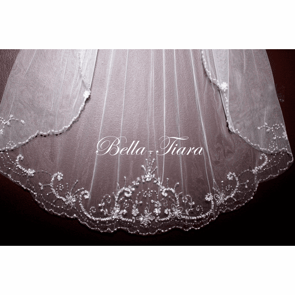 "Regal 144"" long crystal cathedral veil - SPECIAL"