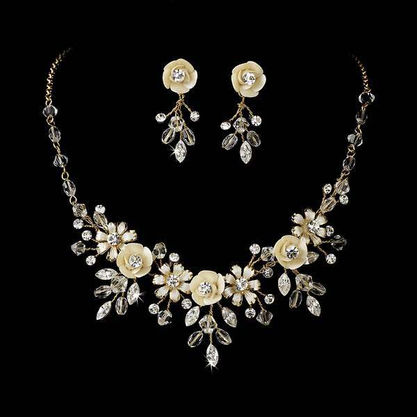 Romantic gold champagne wedding necklace set - SALE