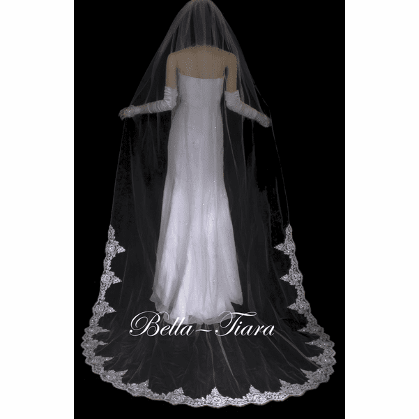Romantic half lace beaded cathedral veil = sale