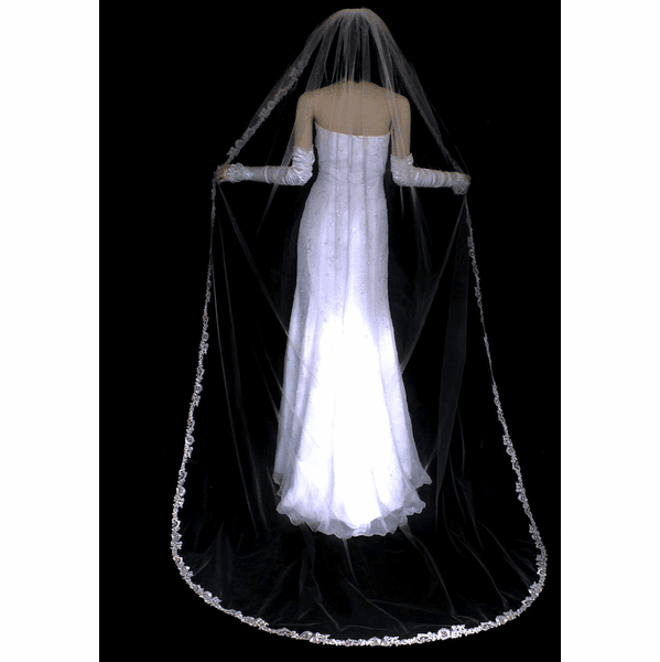 Romantic lace champagne cathedral wedding veil - SALE