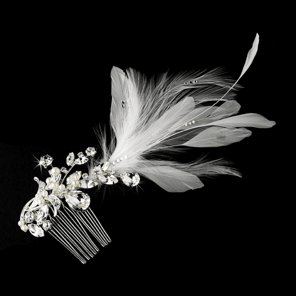 Romantic vintage pearl off white feather hair clip - SALE