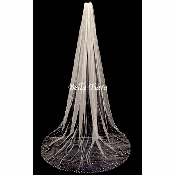 """Royal 120"""" long  Scattered crystal cathedral veil - Free Blusher - 20% off use code (20veil)"""