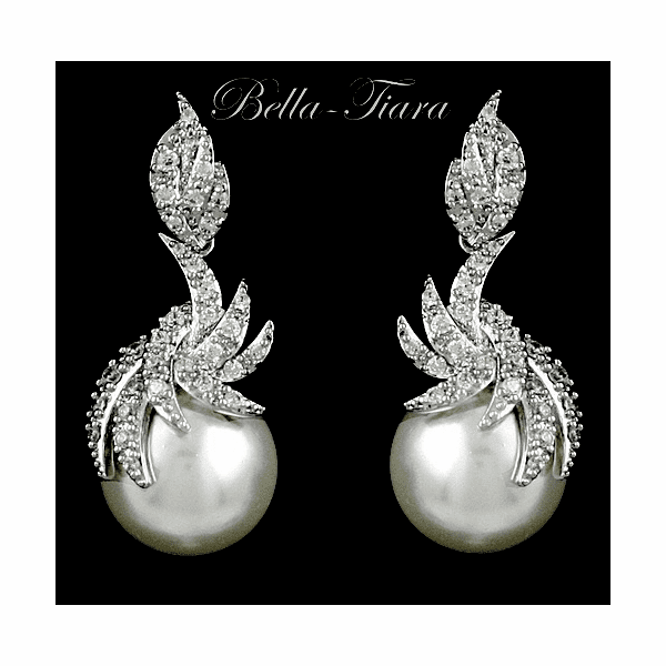 Royal Collection - Elegant couture cz pearl bridal earrings - sale