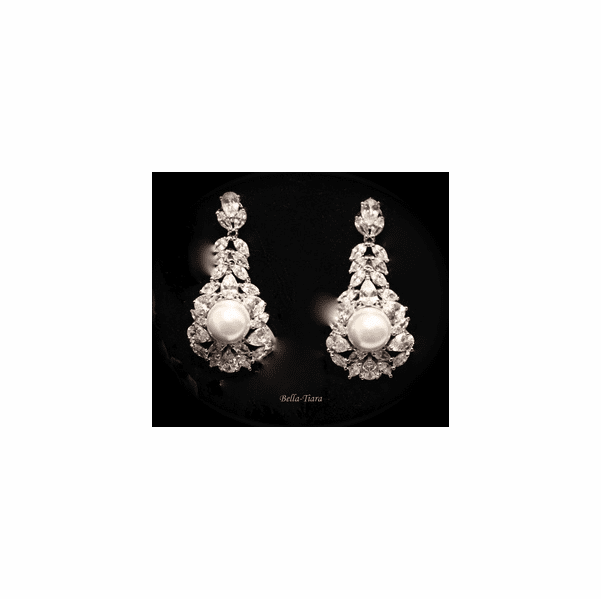 Royal Collection - Luxurious CZ and pearl drop wedding earrings -15% off use code (jewel15)