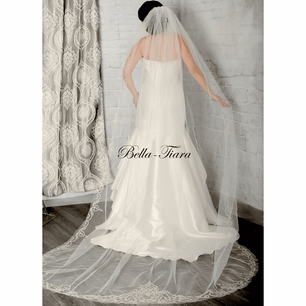 Royal Collection - Silver beaded edge royal cathedral veil - SALE