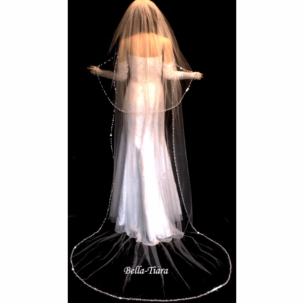 ROYAL COLLECTION - SILVER EDGE CATHEDRAL WEDDING VEIL - SPECIAL