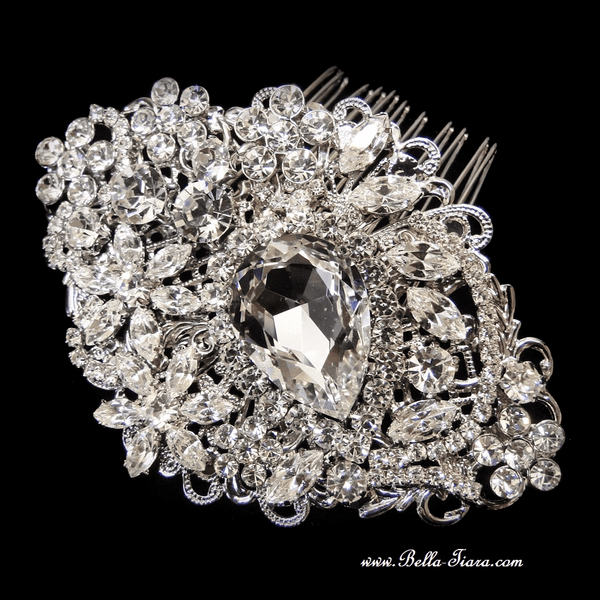 Royalty - GORGEOUS Antique Silver Swarovski crystal wedding hair Comb - SALE