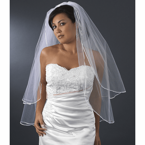 Satin Corded Edge ivory, white, champagne Wedding Veil - SPECIAL