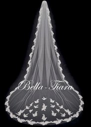 Serafina - ROYAL Collection - Breathtaking crystal beaded lace cathedral veil