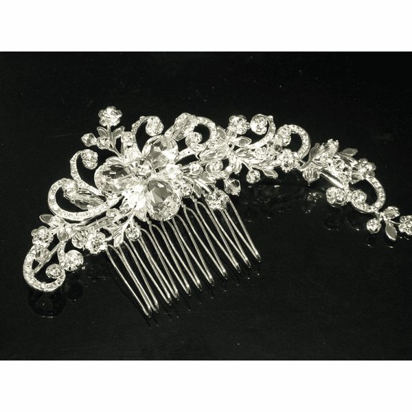 Silvana - GORGEOUS vintage swirl crystal wedding comb - SPECIAL
