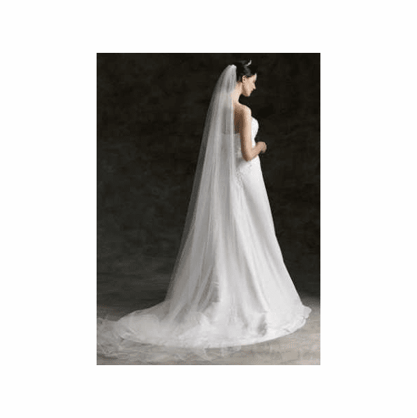 Simple elegance 1- tier cathedral lenght veil - sale