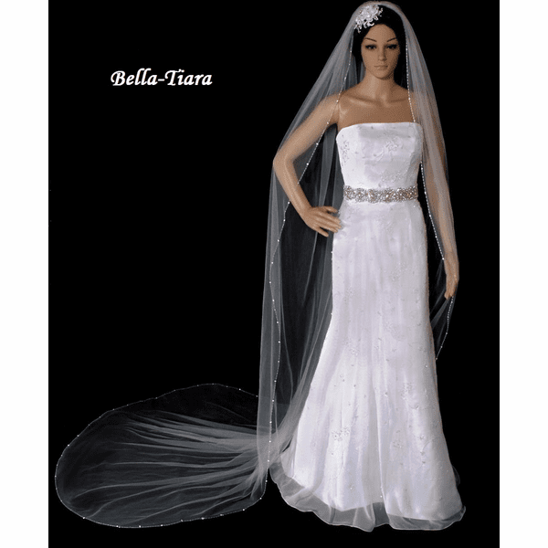 Simple elegance Cathedral Crystal edge Veil - SPECIAL