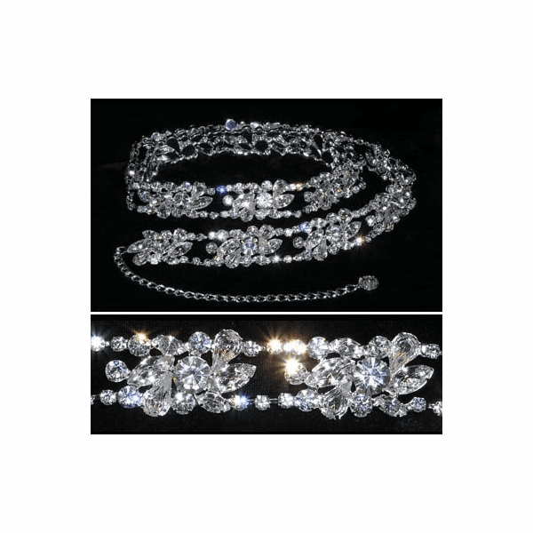 Sloan- Spectacular vine swarovski crystal wedding belt - out of stock