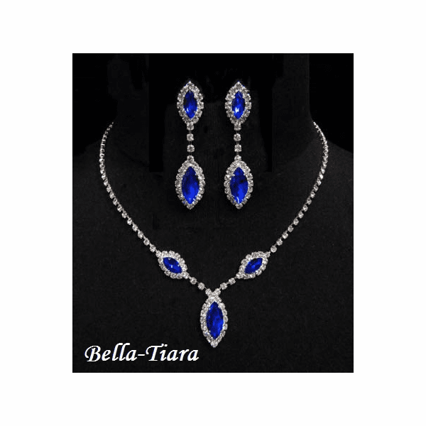Sparkling - Blue Triple Navette Drop Necklace and Earring Set - QUANTITY DISCOUNT