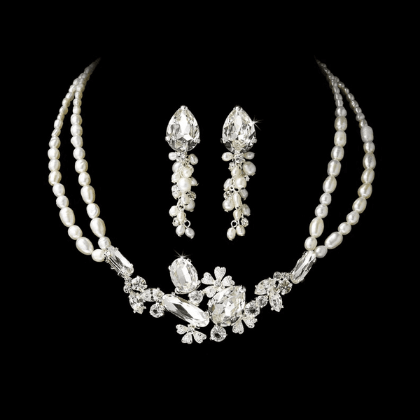 Diana- SPECTACULAR - BOLD crystal and Freshwater Pearl Necklace Set - SALE!!!
