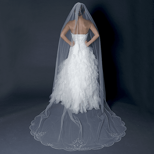 splendida - Luxurious collection - Swarovski crystal edge wedding veil - SALE