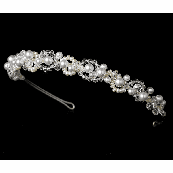 Spring - Beautiful pearl and crystal headband - SALE!