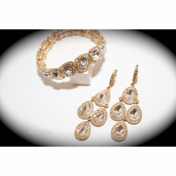Stunning chandelier gold earrings bridesmaids jewelry set -- QUANTITY DISCOUNT