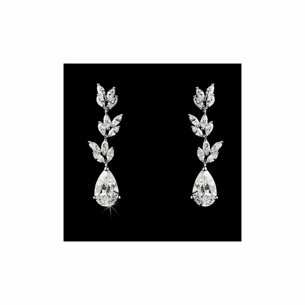 Uptown - Elegant CZ drop vine bridal earrings - SALE