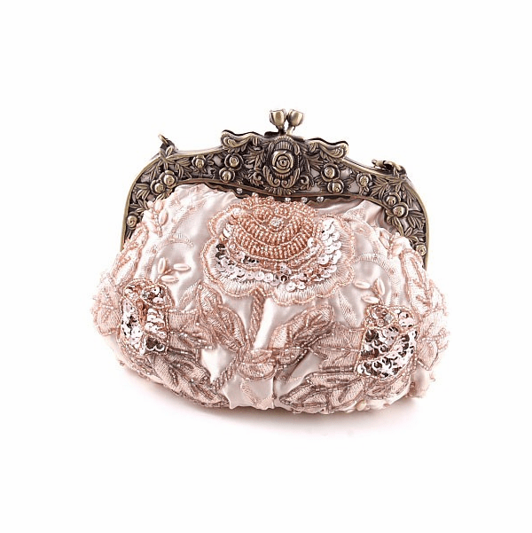 Vintage champagne beaded evening purse - SALE