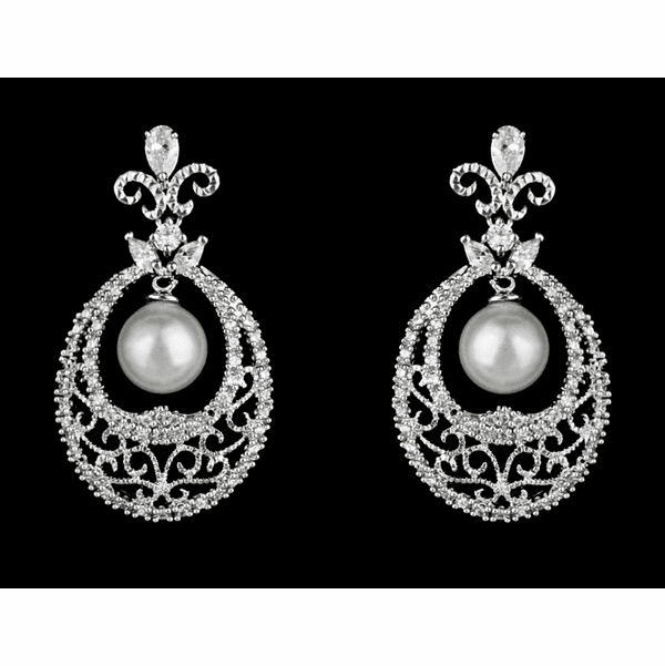 Vintage inspired pearl and CZ bridal earrings.