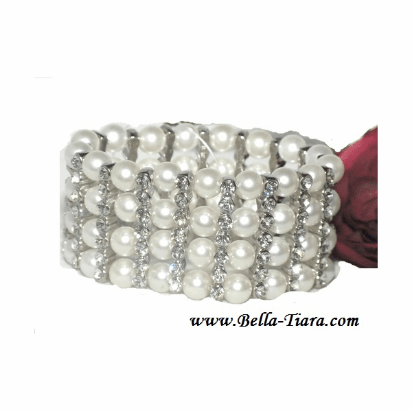 Wonder - Elegant wide pearl and rhinestone stretch wedding bracelet  - SPECIAL!!