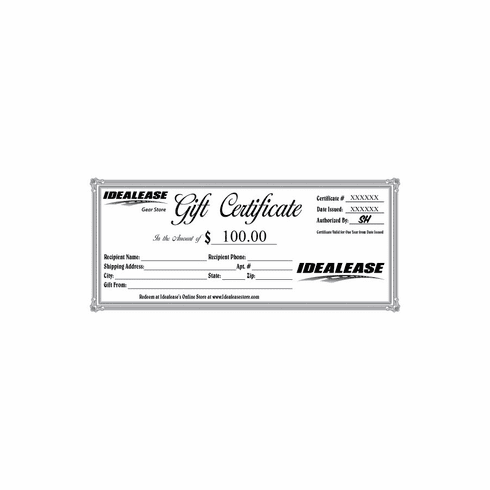 Idealease $100.00 Gift Certificate