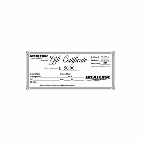 Idealease $50.00 Gift Certificate