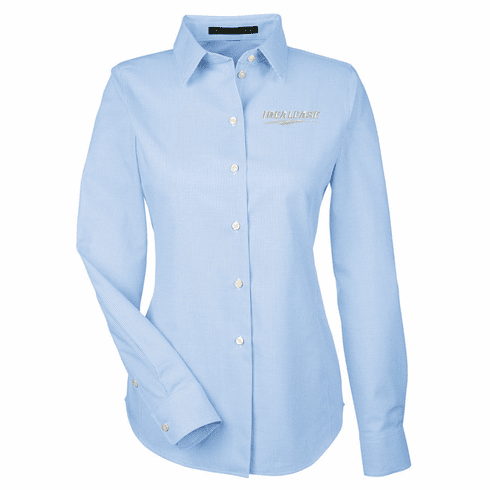 Ladies' Devon & Jones Crown Woven Collection Royal Dobby Shirt