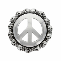 100211 Peace Sign Skull Belt Buckle Belt Buckle