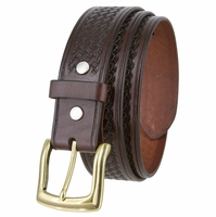 "10310 Basketweave Men's Heavy Duty Work Uniform Gun Leather Belt 1 1/2"" Wide - Brown"