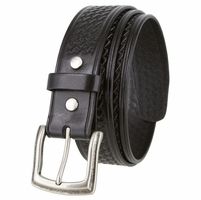 "10311 Basketweave Men's Heavy Duty Work Uniform Gun Leather Belt 1 1/2"" Wide - Black"