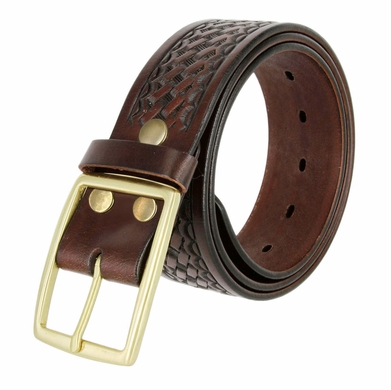 10855 Men's Basketweave Genuine One Piece Leather Utility Uniform Work Belt 1.75 Inch Wide - Brown