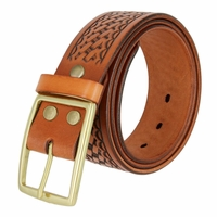 10856 Men's Basketweave Genuine One Piece Leather Utility Uniform Work Belt 1.75 Inch Wide -Tan