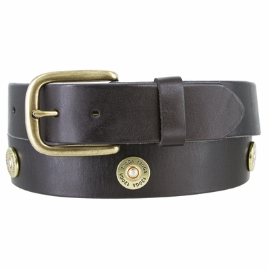 12 Gauge Shotgun Shell Full Grain Leather Belt - Black