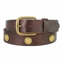 "Men's Belt 12 Gauge Shotgun Shell Full Grain Genuine Leather Belt 1-1/2"" Wide - Brown"