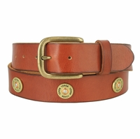 "Men's Belt 12 Gauge Shotgun Shell Full Grain Genuine Leather Belt 1-1/2"" Wide - Tan"