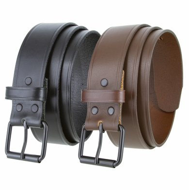 "1304 Black Roller Buckle Genuine Leather Uniform Work Belt 1 1/2"" Wide"