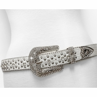 "35116 Rhinestone Belt Fashion Western Cowgirl Bling Studded Design Leather Belt 1-3/8""(35mm) wide"