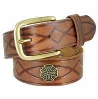 3820002 Genuine Full Grain Leather Tooled Belt with Antique Brass Buckle and Celtic Conchos
