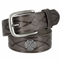 3820004 Genuine Full Grain Leather Tooled Belt with Antique Nickel Buckle and Celtic Conchos