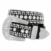 "50118 Women Rhinestone Belt Fashion Western Cowgirl Bling Studded Design Leather Belt 1-1/2""(38mm) wide-Black"