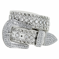 "50118 Women Rhinestone Belt Fashion Western Cowgirl Bling Studded Design Leather Belt 1-1/2""(38mm) wide-White"