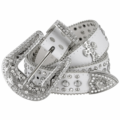 "50121 Rhinestone Belt Fashion Western Cowgirl Bling Studded Design Cross Concho Leather Belt 1-1/2""(38mm) wide-White"